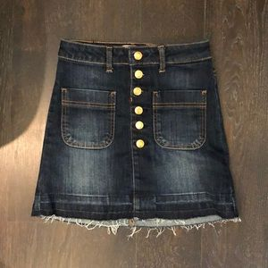 Girls mini denim jean button up skirt
